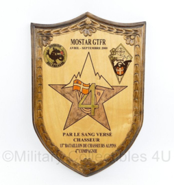 Wandbord SFOR 13e bataillon de Chasseurs Alpins 4e Compagnie - Monstar GTFR - gemaakt in Bosnië - 30 x 20 x 2 - nieuw - origineel