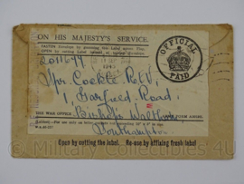 WO2 Britse officiele Feldpost envelop On Her Majesty's service 1945 - origineel
