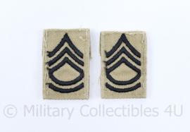 US Army Tropen uniform kraaginsignes met rang - Sergeant 1st Class - 4 x 2,5 cm - origineel