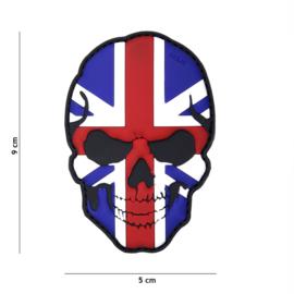 Embleem PVC 3D PVC  met klittenband - Skull met Britse vlag  - 9 x 5 cm.