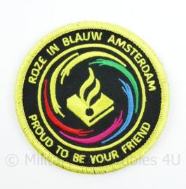 Roze in Blauw Amsterdam Proud to be your Friend embleem - met klittenband  - 9 cm. diameter