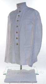 KM Koninklijke Marine witte tropen uniform jas met opstaande kraag en broek Toetoep - Zeldzaam - maat 57 3/4 jas en 49 3/4 broek - NIEUW in verpakking - origineel