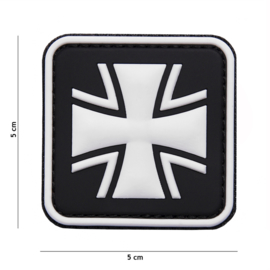 Embleem 3D PVC WW2 german Cross Black/White - 5 x 5 cm.