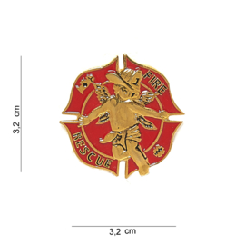 "US Fire Department badge ""Fire Resque"" - 3,2 x 3,2 cm."