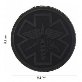Embleem Para Medic - zwarte achtergrond met foliage - Klitteband - 3D PVC - 8,2 x 8,2 cm.