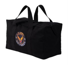US Army Air Forces Parabag Flyers kit bag - met rits- en drukknoopsluiting - 50 liter - 58 x 30 x 33 cm - ZWART