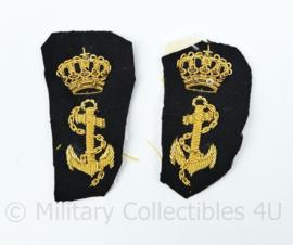 Koninklijke Marine Vintage Officiers kraaginsigne PAAR - 13 x 6 cm - origineel