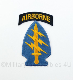 US Army Vietnam Airborne Special Forces patch met tab - 9 x 5,5 cm