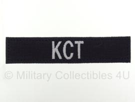 Naamlint 'KCT' Korps Commandotroepen met klittenband Zwart - nieuw gemaakt