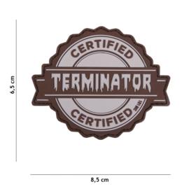 Embleem 3D PVC met klittenband - Cerified Terminator - grijs - 8,5 x 6,5 cm.