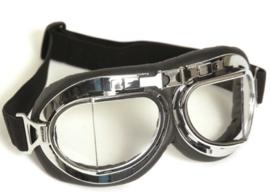Piloten bril of brommer bril - chroom frame met heldere glazen