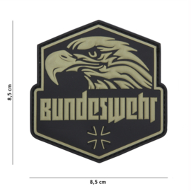 Embleem 3D PVC met klittenband - Bundeswehr Green - 8,5 x 8,5 cm.