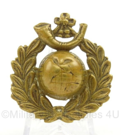 WO2 Britse Royal Marines Cap Badge, Light Infantry cap badge - afmeting 4 x 4,5 cm - origineel
