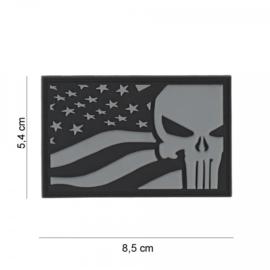 Embleem Punisher USA vlag - grijs - met klittenband - 3D PVC - 5,4 x 8,5 cm