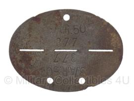 WO2 Duitse erkennungsmarke - 5e Kompanie van artillerie regiment 50, serienr. 377 - origineel