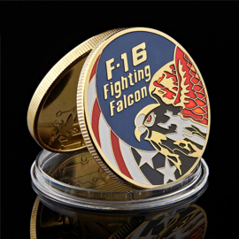 USAF United States Air Force F-16 Fighting Falcon coin munt - 4 cm diameter