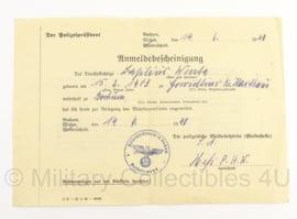 WO2 Document Duits anmeldebescheinigung - 1941 - origineel