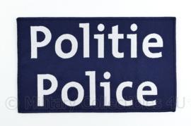 """Belgische donkerblauwe Politie Police embleem rugstrook """"Politie Police""""- met klittenband - 24,5 x 15 cm"""