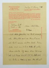 WO2 Duitse brief 1940 - konzentrationslager Sachsenhausen Oranienburg bei Berlin - afmeting 15 x 21 cm - origineel