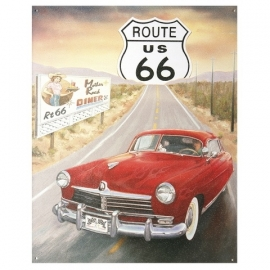 Metalen plaat groot Route 66 US auto
