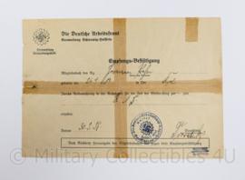 WO2 Duits document 1938 DAF Die Deutsche Arbeitsfront - Empfangs bestätigung - ingevuld -  origineel