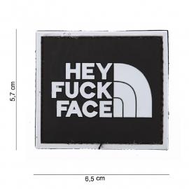 Embleem 3D PVC Hey Fuck Face - met klittenband - 5,7 x 6,5 cm