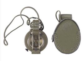 Belgische leger kompas met groene lederen tas - origineel