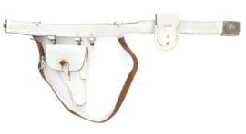 Duitse koppel met schouderriem, handboeientas en Walther P1 holster P38 holster - WIT leder - origineel