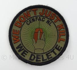 KLu Luchtmacht eenheid embleem CENFAC NL- we don't just kill, we delete - met klittenband - doorsnede 10 cm - origineel