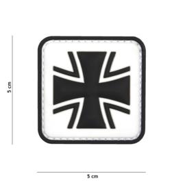 Embleem 3D PVC met klittenband - Duits Kruis - wit - 5 x 5 cm.