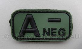Embleem Bloedgroep A- Negatief - GROEN / ZWART - Klittenband - 3D PVC - 5 x 2,5 cm.