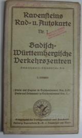 Ravensteins Rad- u. Autokarte Baden-Wurttembergische Verkehrszentren 1:300.000 - 83 x 72 cm. - origineel jaren 40