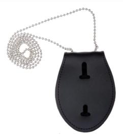 ID houder met ketting - zwart leder - nieuw gemaakt