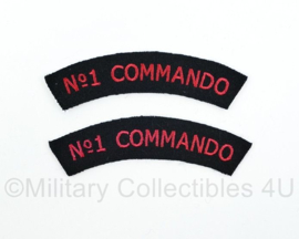 WO2 Britse No. 1 Commando shoulder title pair