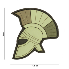 Embleem 3D PVC met klittenband - Spartaanse helm - groen - 6 x 6,5 cm.