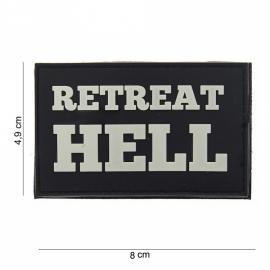 Embleem Retreat Hell - Klittenband - zwart/grijs - 3D PVC - 8 x 4,9 cm