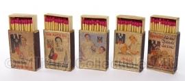 Doosje lucifers van hout- met replica wo2 Duitse afbeelding -Rotes Kreuz