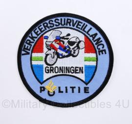 Politie Groningen verkeerssurveillance embleem  - met klittenband -  diameter 9 cm - origineel