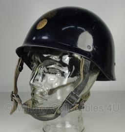 Franse donkerblauwe Gendarmerie helm met gouden RF - origineel