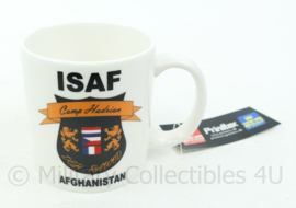 ISAF Camp Hadrian Afghanistan beker met kaartje eraan - Nieuw - afmeting 8,5x9 cm - origineel