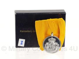 Defensie Medaille 24 jaar trouwe dienst - Zilver - Wilhelmina (huidig model) 5,5 x 4 cm - Origineel