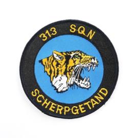 KLU Luchtmacht embleem 313 SQN Scherpgetand - diameter 10 cm - origineel
