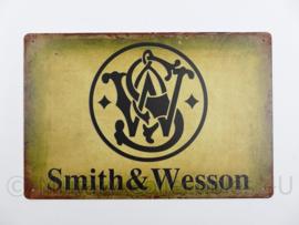 Metalen plaat Smith & Wesson Firearms - 30 x 20 cm.