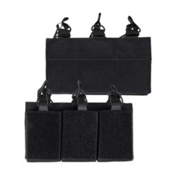 Magazijntas Triple Magazin pouch koppeltas met velcro - voor 3 M4, M16 of AR15 magazijnen - ZWART