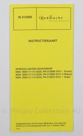 KL Landmacht Instructiekaart Spreek/luister gehoorkap koptelefoon - IK012668 - afmeting 21 x 10 cm - origineel