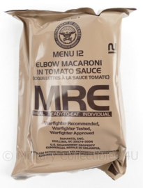 US Army MRE los rantsoen - Meal Ready to Eat - Menu 12 Elbow Macaroni in tomato sauce  - in houdbaar tot 10-2020