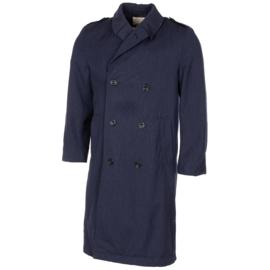 Britse leger blauwe dikke wollen mantel met voering - dubbele rij knopen - origineel