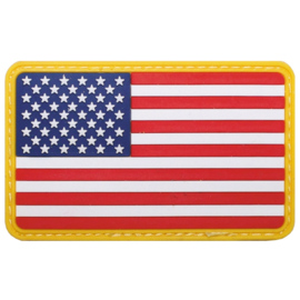 Uniform landsvlag USA 3d PVC GELE rand met klittenband - 8 x 5  cm.