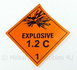 Ongebruikte Explosive 1.2 C sticker voor op munitiekisten zelfklevend vinyl - 10 x 10 cm - origineel