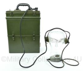 Nederlands leger jaren 50 Radio zend ontvangst toestel met koptelefoon Philips SDR 314/04 -30x40x15,5 cm -origineel